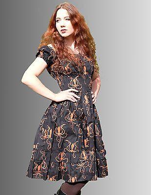 Steampunk Kleid gerafft Octopus schwarz Kraken Lolita dress Halloween Kostüm