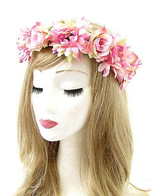 Light Pink Gerbera Daisy Rose Flower Headband Hair Crown Wreath Garland Boho (Gerbera Daisy Garland)