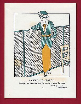 "Tennis Player Mode Fashion Outfit Tennisspiele Siebdruck  ""Gazette du Bon Ton"""