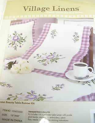 Garden Beauty Table Runner Kit; Beautiful Multicolor Purple Edging Sewn In