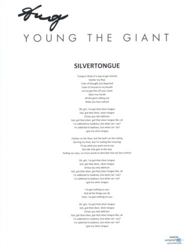 Sameer Gadhia Signed Young The Giant Silvertongue Song Lyric Sheet ACOA COA
