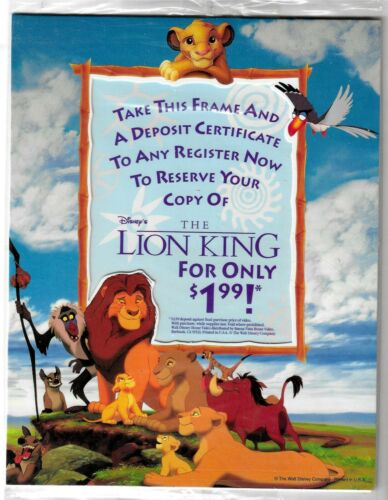 The Lion King - On Video - Cardboard Photo Frame Promo - 1995 - New