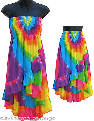 Rainbow Tie Dye Tube Top Skirt Convertible Cascade Summer NEW Womens S M L  - Rainbow Tube Top