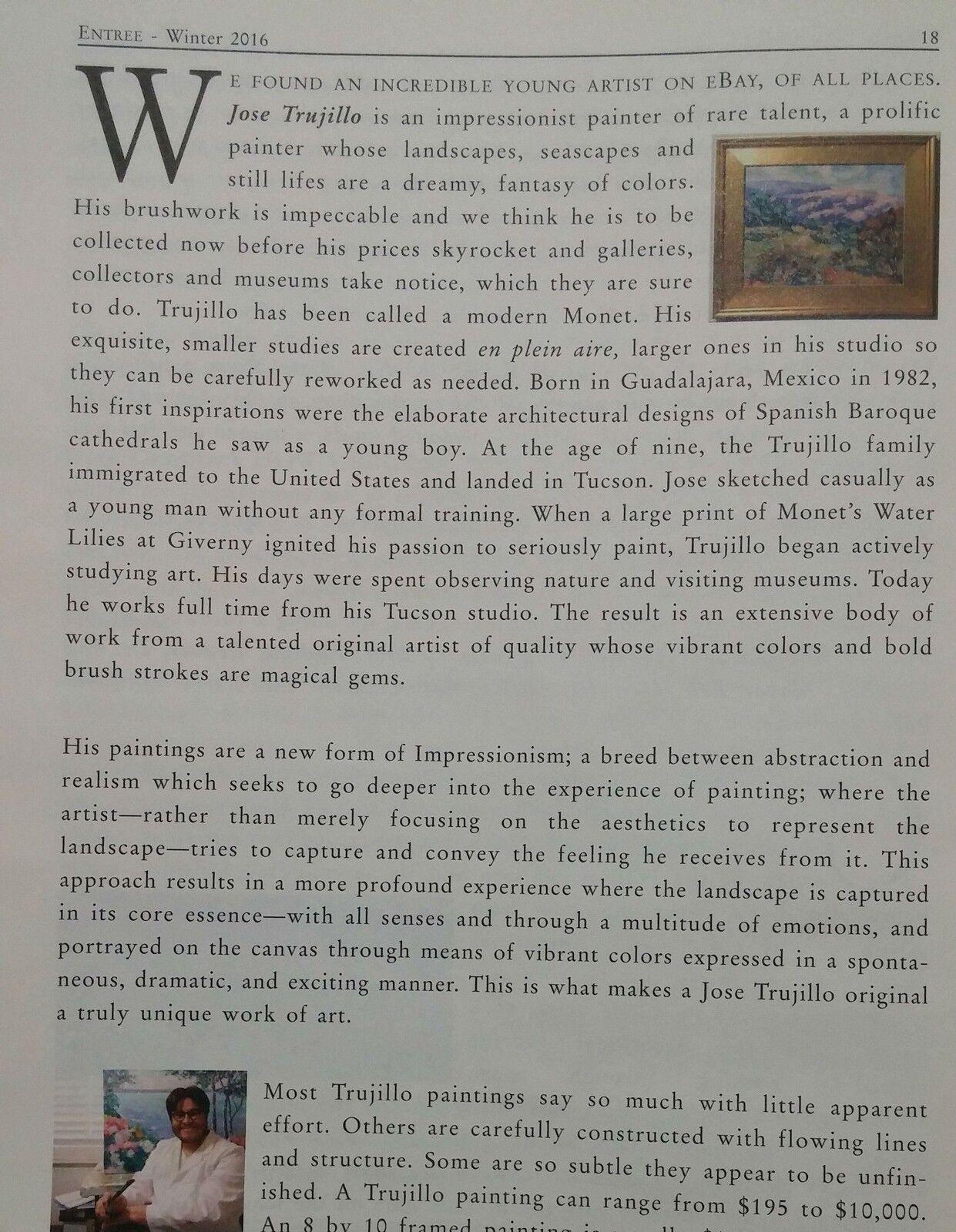 JOSE TRUJILLO OIL PAINTING 16X20 PORTRAIT EXPRESSIONIST IMPRESSIONISM MODERNIST - $329.00