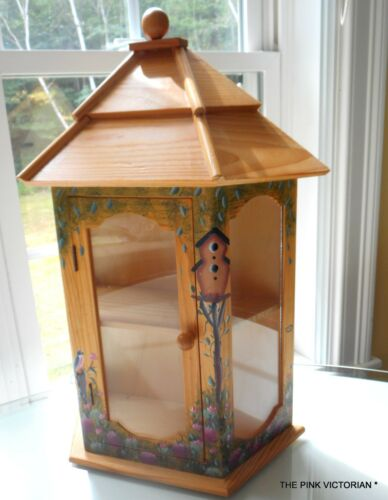 WOODEN CURIO CABINET SHELVES CHARMING HAND PAINTED GARDEN THEME DETAILS, GIFT