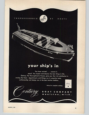 1952 PAPER AD Century Motor Boats Wood Wooden Hull Manistee Mich Michigan