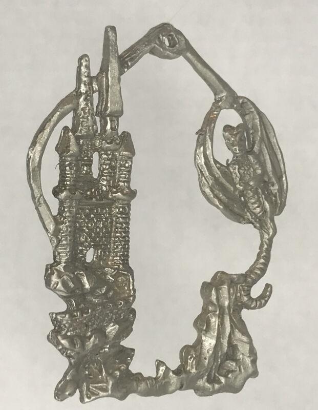 Fantasy Gothic Pewter Christmas Ornament Wizard Castle Dragon