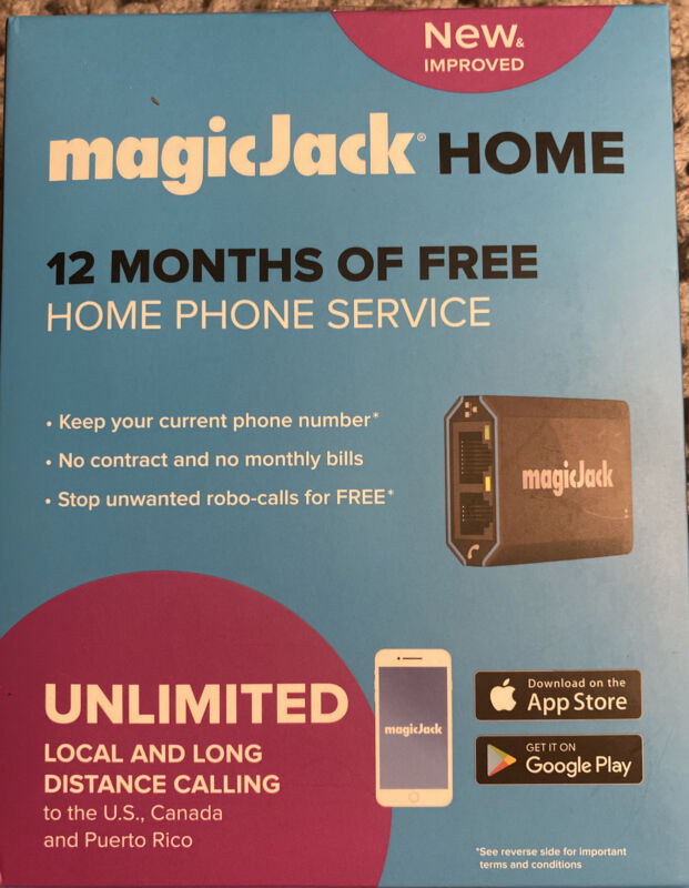 MagicJack - HOME VoIP Telephone Adapter with 12 Months of Service - Black - New