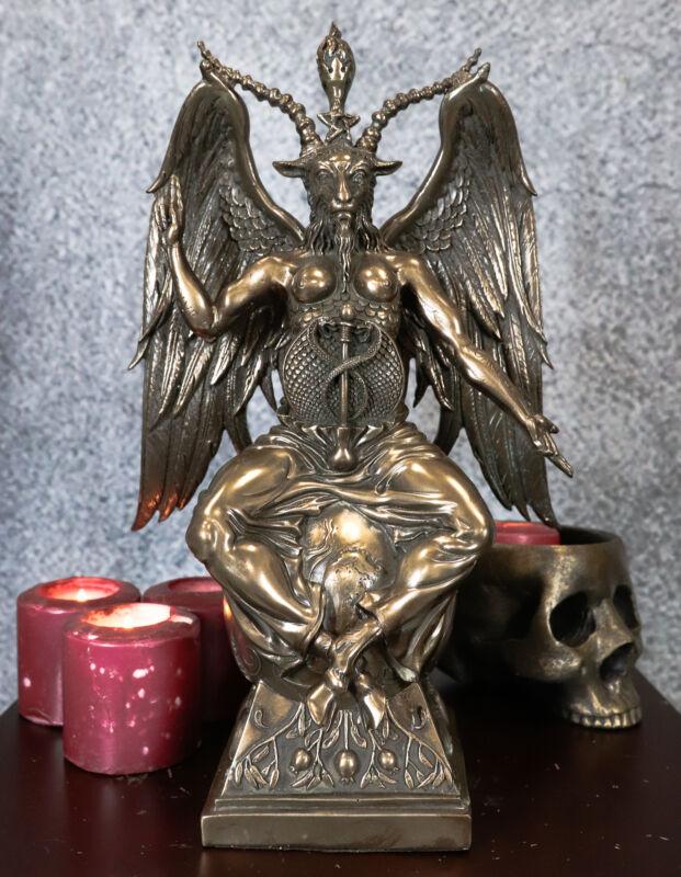 "Ebros Gift 15"" Height Large Baphomet On Globe Statue Sabbatic Goat Figurine"