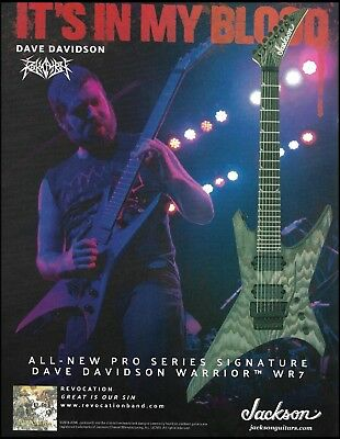 Revocation Dave Davidson Signature Warrior WR7 Jackson Pro Series guitar 8x11 ad for sale  Shipping to Canada
