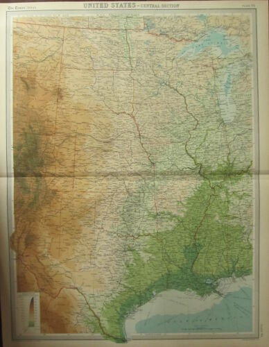 1922 LARGE ANTIQUE MAP ~ UNITED STATES CENTRAL SECTION ~ LAND HEIGHTS LOUISIANA