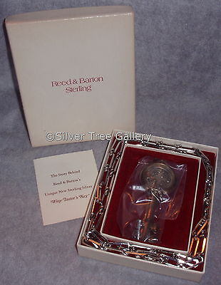 NIB Seasoned Reed Barton Sterling Silver Wine Taster Key Xmas Ornament Ornament