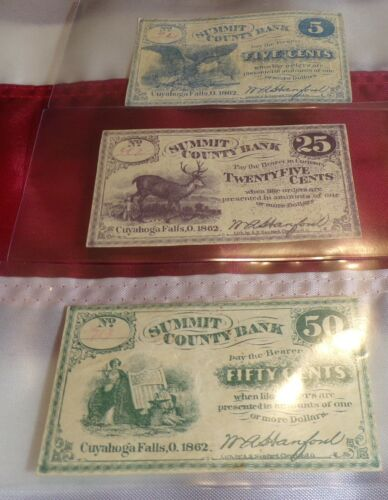 LOT OF 3 1862 CIVIL WAR SUMMIT COUNTY BANK FRACTIONAL 5, 25, 50 CENT!!!