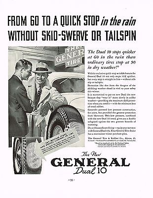 1930s BIG Original Vintage General Tire Dual 10 Men's Fashion Art Print Ad