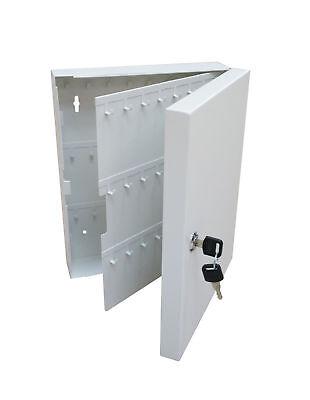 Secure Steel Key Storage Cabinet 93 Keys Gray Box Garage Wall Organizer Lock New
