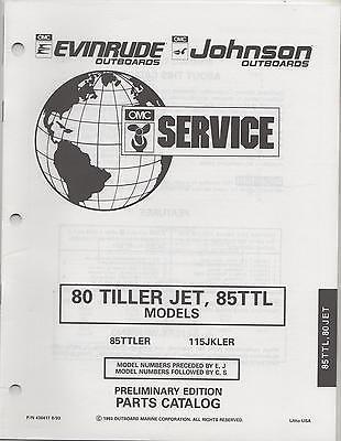 1994 Omc Evinrude Johnson Outboard 80 Tiller Jet,85ttl Models Parts Manual