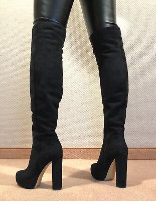 Gr.42 TOP ! Exklusiv Sexy Damen Schuhe Overknee Plateau Stiefel Männer Boots D5