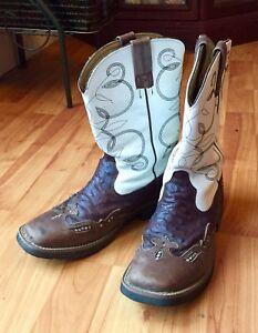 Roper Ostrich Print Square Toe Cowgirl Boots