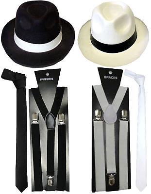 New 1920s Mens Boys Hat Tie Braces Gangster Roaring Pimp Fancy Dress Accessories