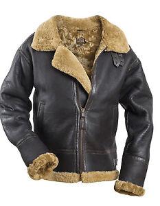 B-3-leather-flight-coat-SHEEPSKIN-Pilot-flying-jacket-brown-new-AVIATOR-Bomber