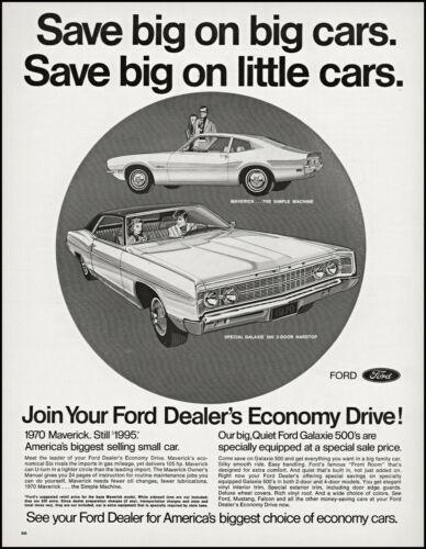 1970 Ford Cars Maverick & Galaxie 500 2-Door hardtop retro art print ad L83