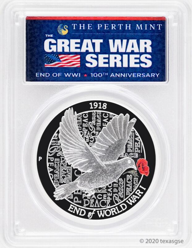 2018-P Australia End of WWI 100th Anniversary 1oz Silver Proof Coin PCGS PR70