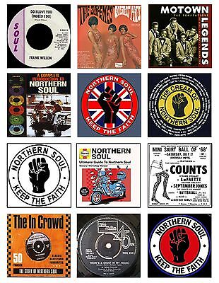 NORTHERN SOUL SET OF 12 FLEXIBLE THIN  FRIDGE MAGNETS SUPREMES MOTOWN SCOOTER