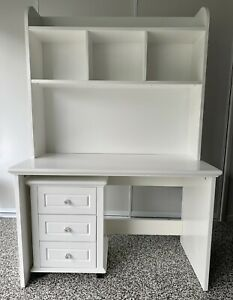 White desk and hutch with mobile drawers