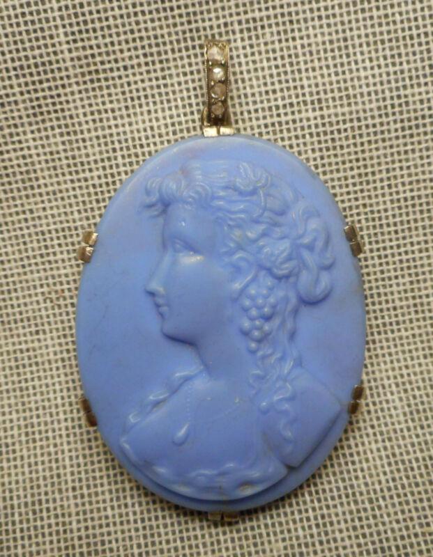 Antique Pendant Blue Glass Lady Cameo Silver Mounting w/ Mine Cut Diamond Bale