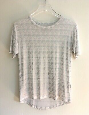 Zadig & Voltaire Anny Allover T-Shirt White Silver Metallic Skulls XS Portugal