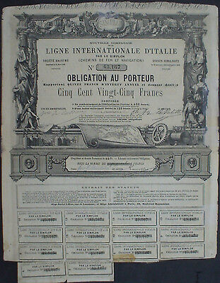 Ligne Internationale D'Italie Obligation 1868 unentwertet + Kuponbogen