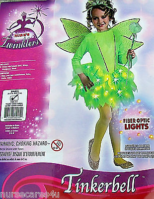 TINKERBELL HALLOWEEN COSTUME SKIRT LIGHTS UP HEADPIECE WINGS CHILD S 3-4  YR