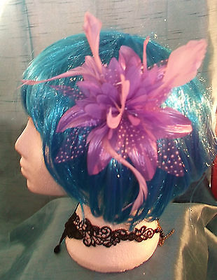 Burlesque Halloween-party (STEAMPUNK/BURLESQUE PURPLE FEATHER Fascinator-wedding/prom/halloween/party )
