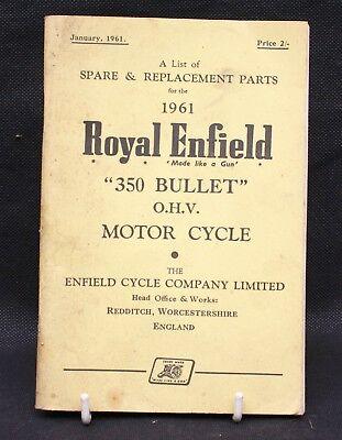 ROYAL ENFIELD 350 BULLET ORIGINAL 1961 FACTORY ILLUSTRATED PARTS CATALOGUE