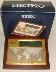 Seiko QHL020B Executive Desk World Time Digital Clock/Calendar/ Map/ Dual Alarms