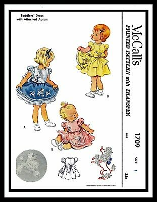 McCall's # 1709 Sewing Pattern Dress Frock w/ APRON Toddler Baby GIRL Child ~1~  for sale  Shipping to India