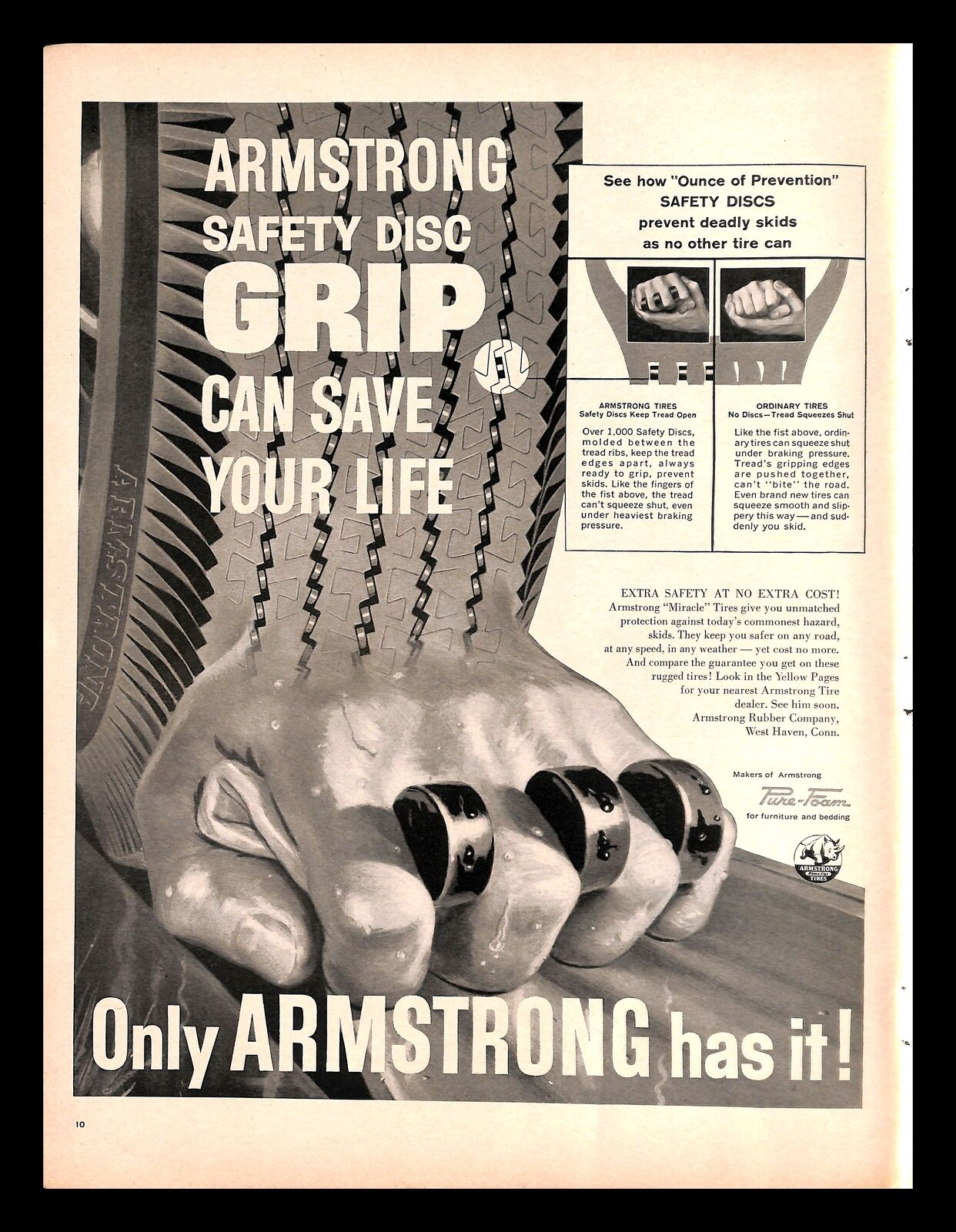 1959 Armstrong Safety Disc Grip Tires Vintage Print Ad Automobile Safety 1950s Ebay