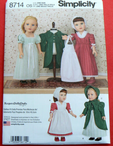 """8714 Simplicity Sewing Doll Clothes Pattern Size 18"""" American Girl Swiss"""