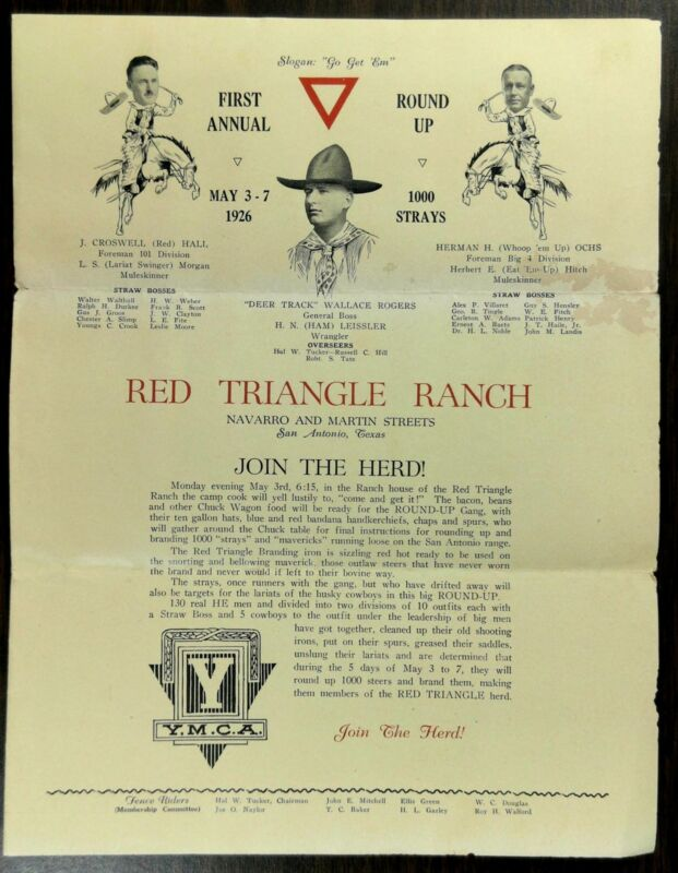 1926 YMCA RED TRIANGLE RANCH San Antonio Texas 1st Cattle Roundup 1000 Strays