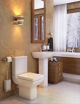 Vogue Pure Basin Sink and Toilet Set with Soft Close Seat Dual Flush White