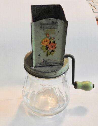 Vintage Nut & Spice grinder, green metal top and wood handle on jar