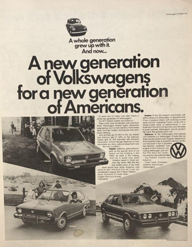 "1977 VW Volkswagen Rabbit, Dasher & Scirocco B&W Newspaper Print Car Ad 11""x14"""