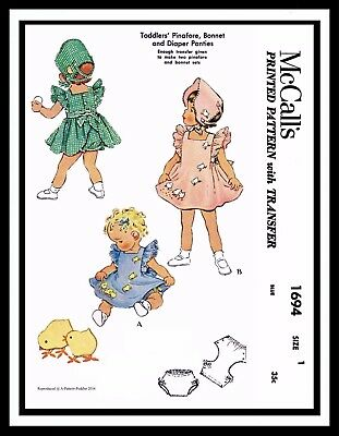 McCall's 1694 Pattern BABY GIRL Child DRESS Frock Pinafore BONNET Hat Panties ~1 for sale  Shipping to India