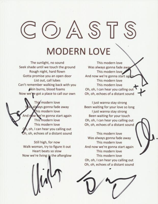 COASTS SIGNED MODERN LOVE LYRIC SHEET