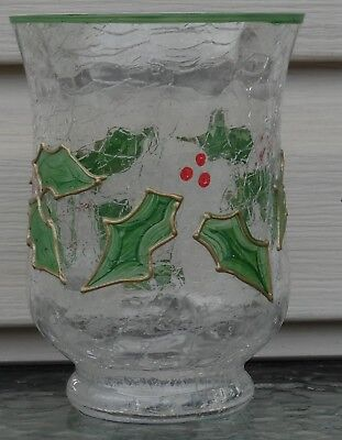 Berry Glass Candle Holder (Celebrations Crackle Glass Votive Candle Holder Holly and)
