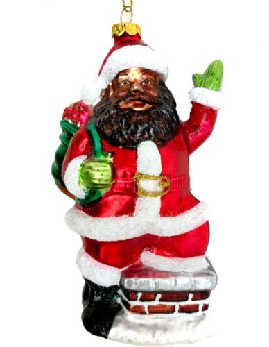 Black Santa Claus Chimney Toys Glass Christmas Tree Ornament African American