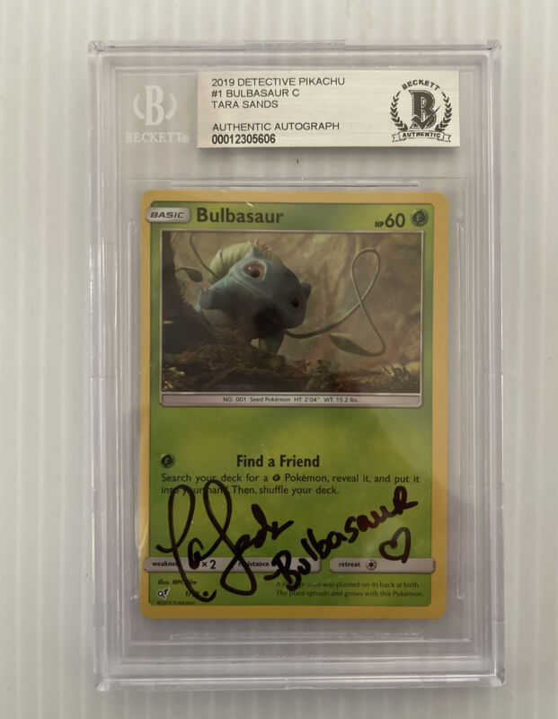 Tara Sands Signed Autographed 2019 Bulbasaur Pokemon Card Beckett Slabbed