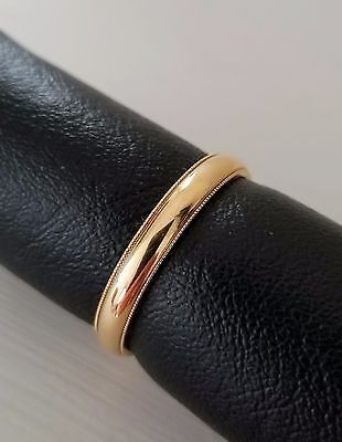Solid 14K Yellow Gold 2mm to 5mm Men Women Wedding Band Rings with Beaded (Beaded Edge Wedding Band)