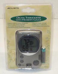AcuRite 00891w Indoor Outdoor Digital Thermometer With Humidity Gauge & Clock