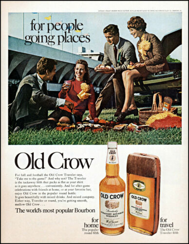 1968 Couples football stadium Old Crow Bourbon 5th vintage photo print Ad adL41